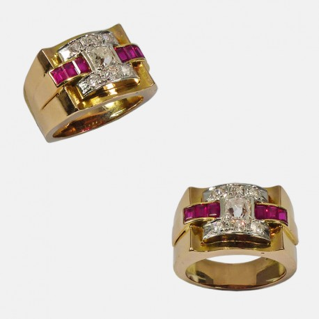 TANK RING GOLD/PLATINUM DIAMONDS