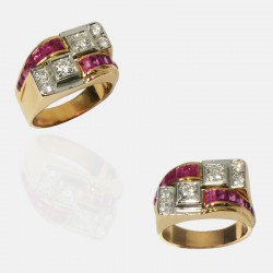 TANK RING GOLD DIAMONDS
