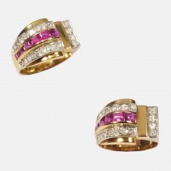 TANK RING DIAMONDS GOLD/PLATINUM