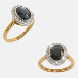 SAPHIRRE/DIAMONDS RING 18K GOLD/PLATINUM