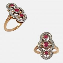 RUBIS RING DIAMONDS 14K GOLD/SILVER