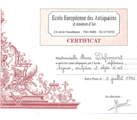 1995 - Certificate of European school of Antique Dealers and Art Lovers